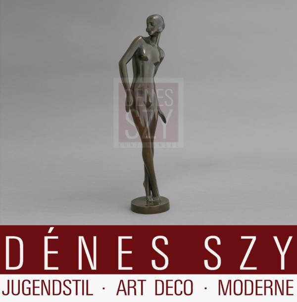 Rudolf Zieseniss Weiblicher Akt Art Deco Bronze ca 1920