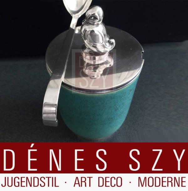 Evald Nielsen Sterling Silber Saxbo Keramik Dose Denmark