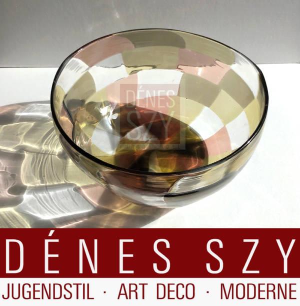 Murano Glas Schale Pezzato Bianconi fuer Venini 1950s