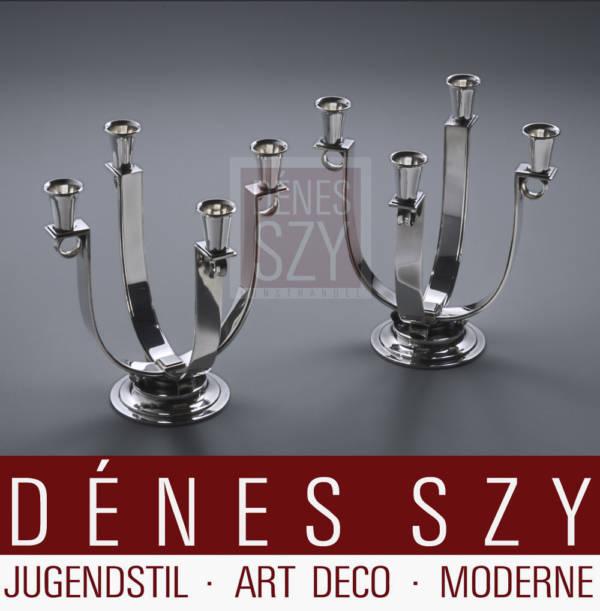 Paar Art Deco Silber Georg Jensen Kandelaber 623B, Entwurf: Otto Gundlach Pedersen, Ausführung: Georg Jensen Silberschmiede, Kopenhagen 1933-51, Silber 925