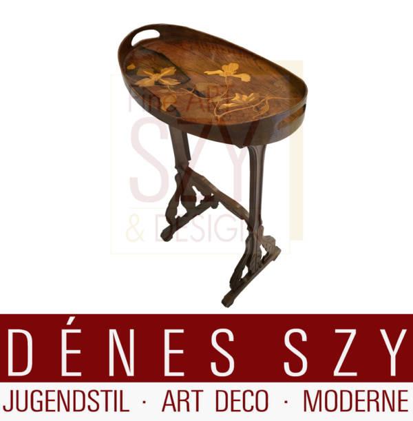 Emile Galle Nancy 1900, Jugendstil Salon Tisch Butler