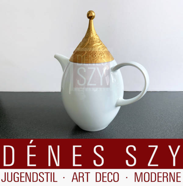 Porcelain Mocha pot by Rosenthal studio-line Germany, The magic flute, Sarastro in Gold by Wiindblad