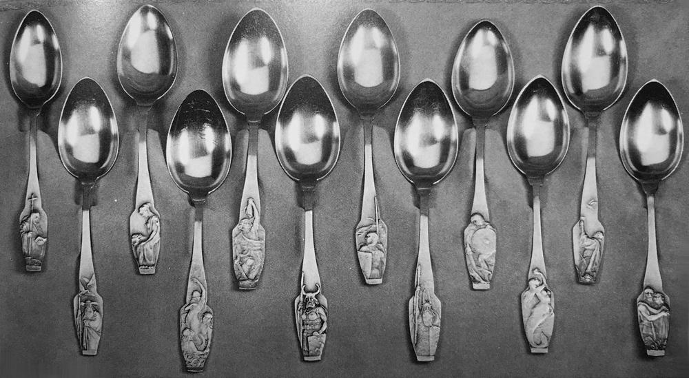 Abbildung der verschiedenen Motive der Wagner Serie von Bruckmann aus Sänger: Das Deutsche Silberbesteck