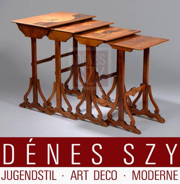 Emile Galle Nancy Jugendstil Tisch Beistelltische Katzen Intarsien