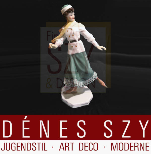 Meissen 1900, German Art Nouveau porcelain figurine skating girl