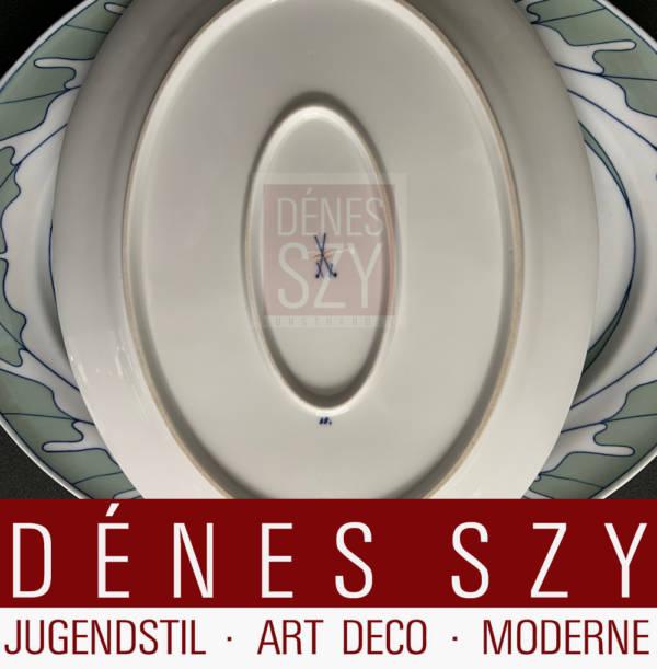 Servizio da tavola Art Nouveau Meissen Piatto media ovale con ala