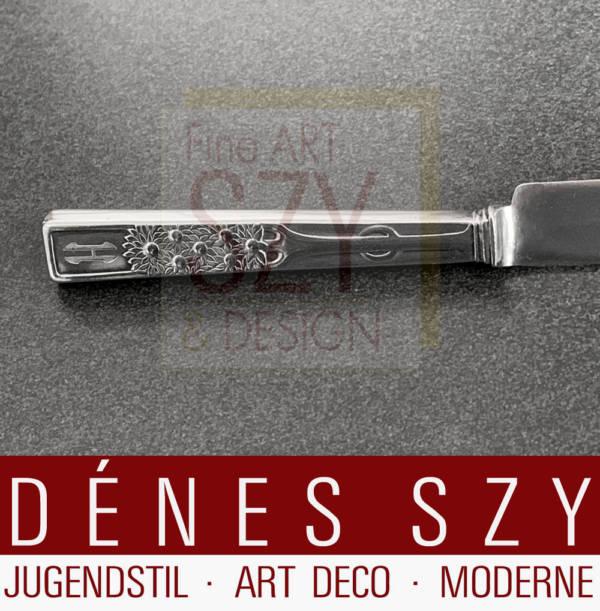 Couteau à fruits Art Nouveau en argent motif de marguerite Vogeler
