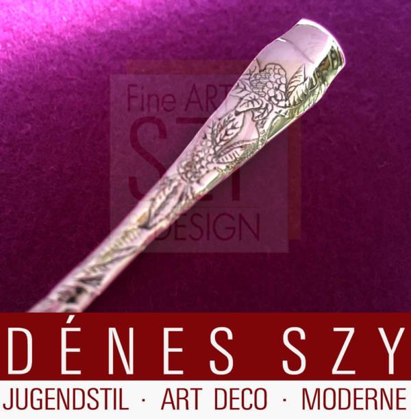 Tiffany Jugendstil Silberbesteck Lap over Edge Zuckerzange