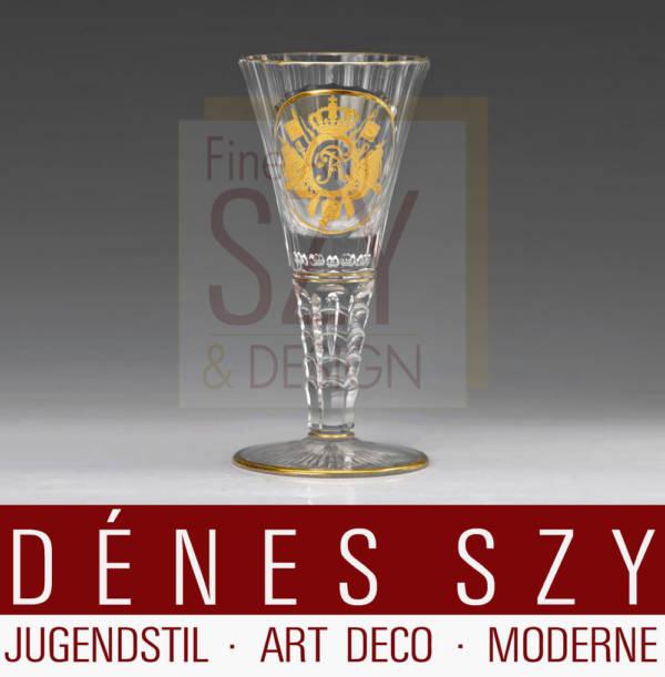 Wilhelm II. Kelchglas, Glas aus dem Jubiläums Service für Friedrich den Großen, Josephinenhütte 1910