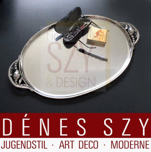 Georg Jensen Silber handmade 3XL Tablett 2 K Muster Magnolia