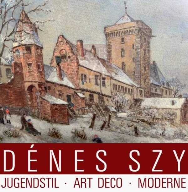 Ruedell, Carl] 1855 Trèves - 1939 Cologne], Zons - Zons sur le Rhin en hiver, Gouache au conseil de l'académie.