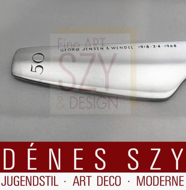 Georg Jensen 1960er Jahre Sterling Silber Brieföffner, Entwurf: Henning Koppel (zugeschr.) 1960er Jahre, Kopenhagen, Sterling Silber 925 im Original Lederetui