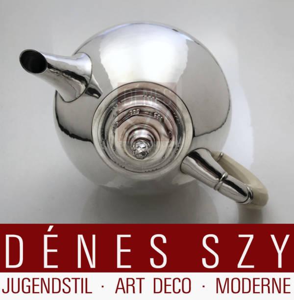 Johan Rohde Teekanne 279, dänisches Art Deco Silber der Georg Jensen Silberschmiede, Ausführung Kopenhagen 1919, Sterling Silber mit Elfenbein