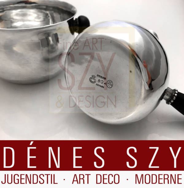 Georg Jensen silver Art Deco sugar bowl and creamer model 80, 1925-32
