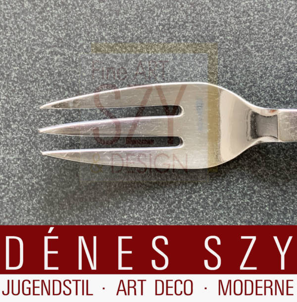 Georg Jensen silver cutlery fruit fork old shape, Art Deco silver cutlery, Pattern: pyramid 15, Design: Harald Nielsen 1927 - Pyramid Collection, Execution: Georg Jensen Silversmith's, Copenhagen 1929, Denmark, 830 silver