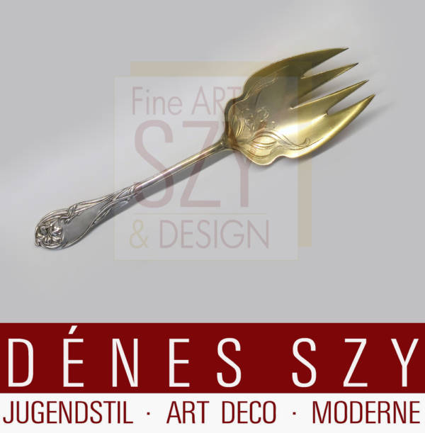 Serving fork with engraved and gilded bowl for the Paris World's Fair 1900, Model no. 2401, Iris pattern. Design and execution: P. Bruckmann and Sons, Heilbronn, Germany, 800 silver, gold-plated bowl