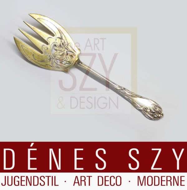 Serving fork with engraved and sawn decor, partly gilt for the Paris 1900 World's Fair. Model no. 2401, Iris pattern. German Art Nouveau silver cutlery, Design and execution: P. Bruckmann and Sons, Heilbronn, Germany