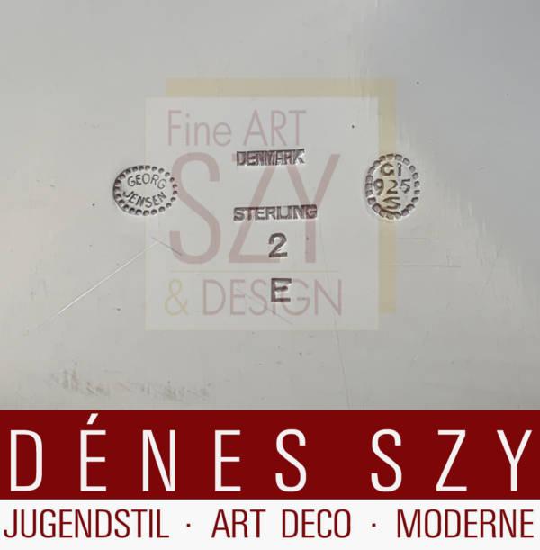 Georg Jensen Silber Magnolia Blossom Tablett 2E, Entwurf: Georg Jensen 1905, Georg Jensen Silberschmiede, Kopenhagen 1946-50, Silber 925, Sterlingsilber