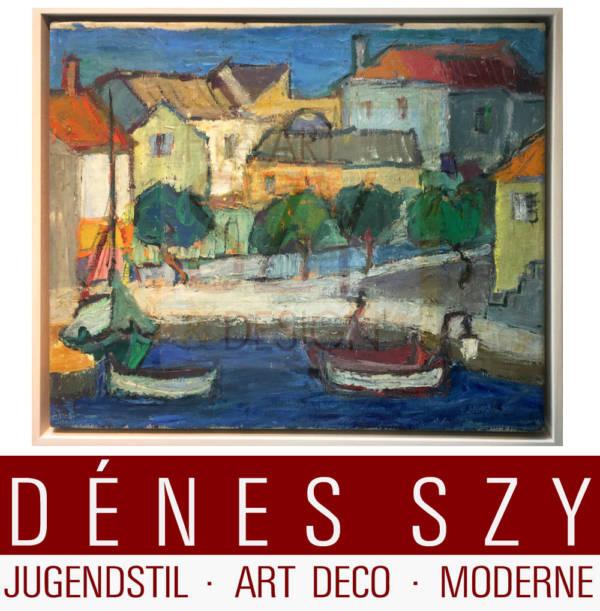 Gemälde Südliche Sommerlandschaft 1958, Mid-Century Sommerlandschaft mit Booten, Acryl auf Leinwand, neu gerahmt, Signiert und datiert unten rechts 1958