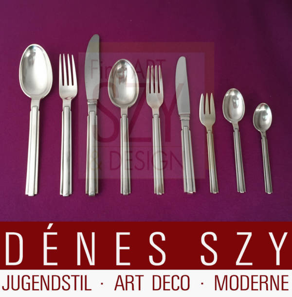 Complete cutlery set for 12 people, a total of 125 pieces including various serving pieces, Design: Karl Gustav Hansen, Execution: Hans Hansen silversmiths, Kolding Denmark, Sterling silver 925 and silver 830