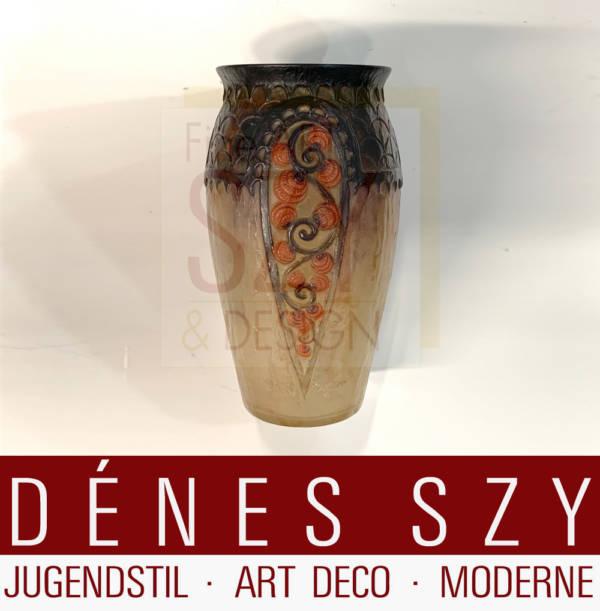 Französische Art Deco pate-de-verre Glas Vase, Entwurf und Ausfuehrung: Glaskoerper, Glaspaste (formgeschmolzen) von GABRIEL ARGY-ROUSSEAU (1885-1953)