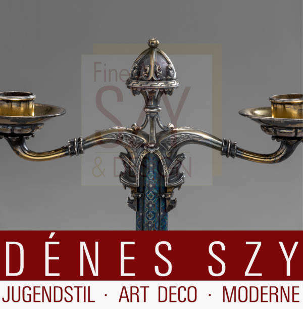Extraordinary Art Nouveau / Art Deco silver candelabrum with enamel and gemstones, Design and execution: Paul Beumers, Conrad Anton, Beumers Silversmith's, Duesseldorf, Germany around 1910