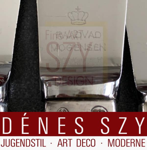 Mid-Century Modern Silber Besteck für 6 Personen mit Vorlegern, Muster: Champagne, Entwurf: Jens H. Quistgaard IHQ 1947, Ausführung: O. V. Mogensen, Dänemark ca. 1950, Sterlingsilber