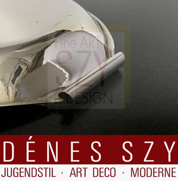 Evald Nielsen Art Deco Silber Servierschale, Gläsertablett, Entwurf und Ausführung: Evald Nielsen Silberschmiede, Kopenhagen Dänemark ca. 1920, Silber 925