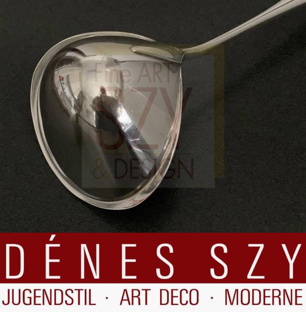 Suppenkelle Muster Cypress / Cypres # 99, Entwurf: Tias Eckhoff 1954, Ausfuehrung: Georg Jensen Silberschmiede, Kopenhagen ca. 1950er Jahre, Sterlingsilber, Länge 32 cm
