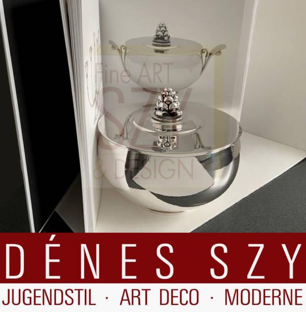 Imposante Deckelschale, Bonbonniere #525A, Design: Harald Nielsen ca. 1928, Ausführung: Georg Jensen Silberschmiede, Kopenhagen Dänemark 1925-32, Sterling Silber 925