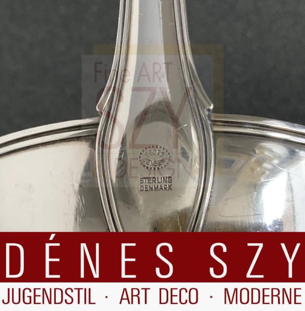 Georg Jensen Silber Besteck, Dobbeltriflet, Suppenkelle, Old Danish # 100, Entwurf: Harald Nielsen 1947, Silber 925, Sterlingsilber