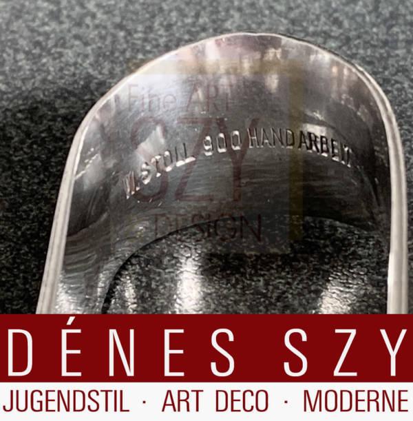 Mid-Century modern Silber Designer Besteck, Zuckerzange, Design und Ausführung: Willi Stoll, Leipzig 1950er Jahre, Silber 900, Handarbeit