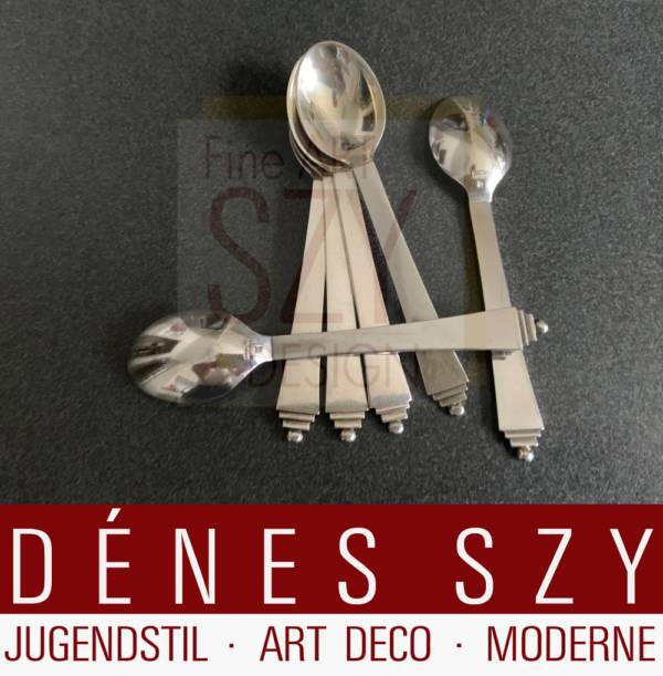 Sechsersatz Art Deco Mokkalöffel, Muster Pyramide #15, Entwurf: Harald Nielsen 1927, Ausführung: Georg Jensen Silberschmiede, Kopenhagen 1933-44, Sterlingsilber, 925S