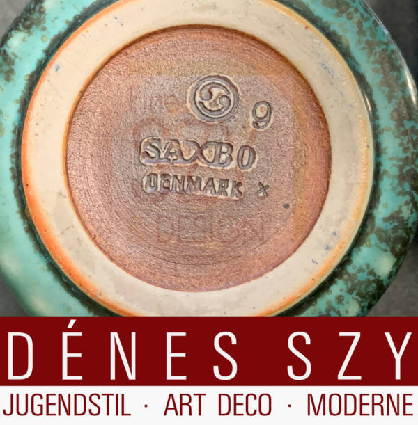 Jam jar # 386 with ceramic body by SAXBO [Denmark 1929-1968], Design: Soren Georg Jensen approx. 1960, Execution: Georg Jensen silversmith's, Copenhagen 1960s, sterling silver