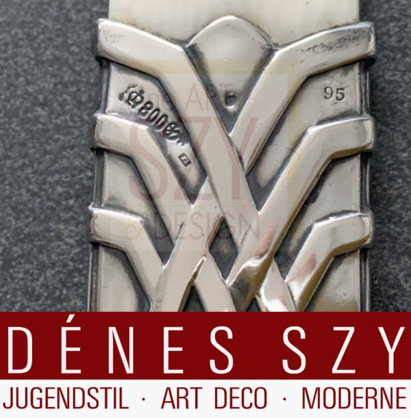 Tagliacarte, Argento Art Nouveau tedesco, Design: Peter Behrens (1868-1940), 1902, Esecuzione: Silberwarenfabrik M. J. Rueckert, Mainz Germania 1902, argento 800
