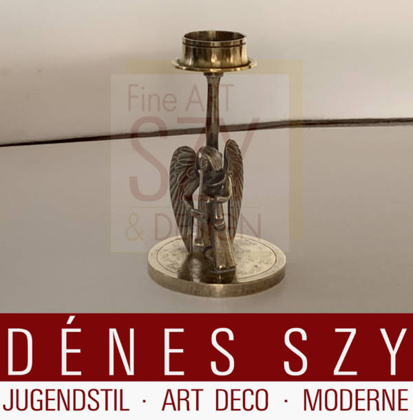 Candlestick from the angel orchestra - shawm player, Design and execution: Herbert Zeitner, Lüneburg Germany 1940s, Silver 925 gold-plated