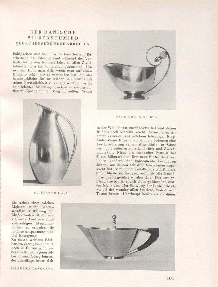 Dekorative Kunst Bd 37 Muenchen 1929 S 101 Georg Jensen Silber