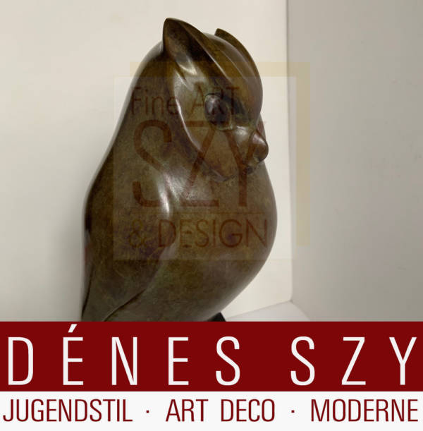 Eule- Chouette, le petit duc, Bronze auf Sockel, Entwurf: Francois Galoyer (geboren 1944), Ausführung: Gießereistempel CAI, Ile de France, Frankreich 20. Jahrhundert, Exemplar 1/8