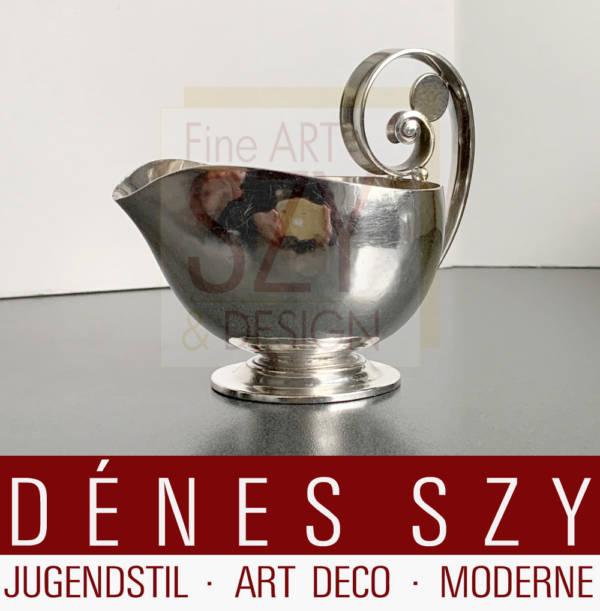 Art Deco Silber kleine Sauciere, Sahnesauciere #321, Entwurf: Johan Rohde ca. 1920, Ausführung: Georg Jensen Silberschmiede, Kopenhagen 1915-32, Dänemark, Sterling Silber 925