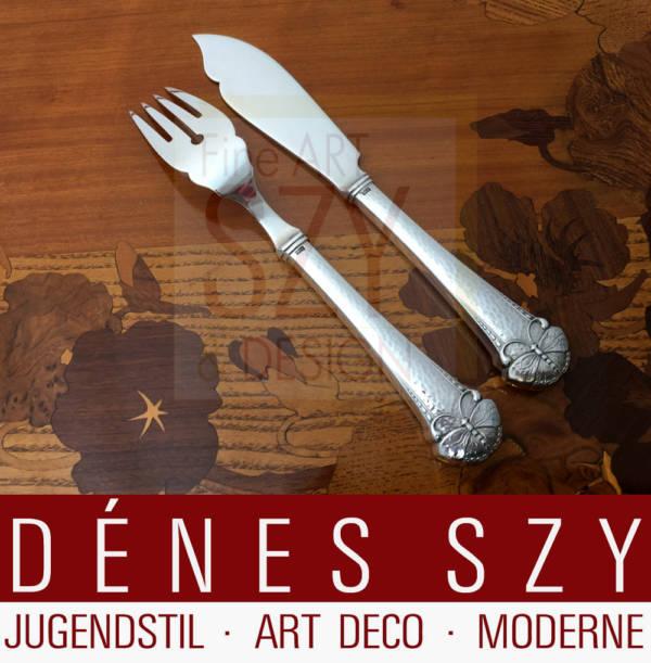 Fish knife, Pattern: butterfly or summer bird, Art Nouveau silver cutlery, Design: Frigast Denmark around 1900/05, Execution: Copenhagen approx. 1920s, 830 silver