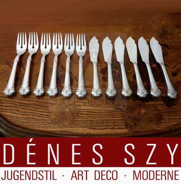 Fish cutlery set for 6 persons, Pattern: butterfly or summer bird, Art Nouveau silver cutlery, Design: Frigast Denmark around 1900/05, Execution: Copenhagen approx. 1920s, 830 silver