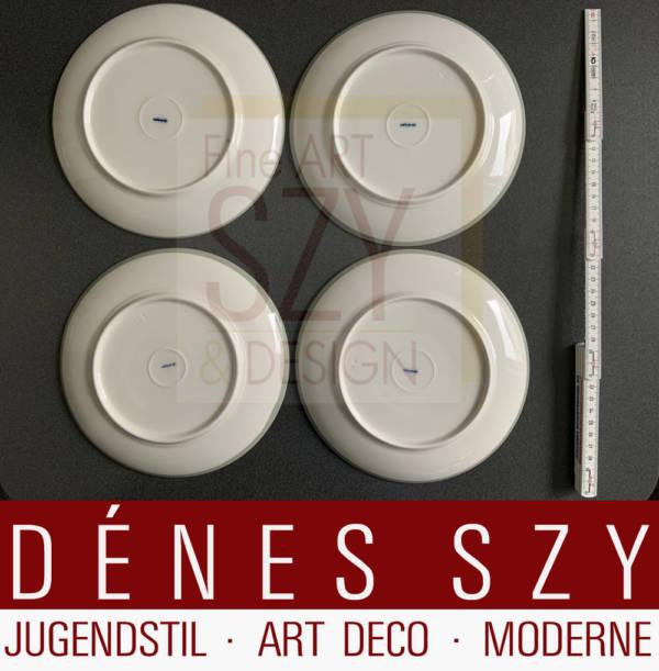 Dessertteller, Muster: Urbino mit Seladonrand / Festrand, Entwurf: Trude Petri 1931, Bauhaus Ära, KPM Berlin, blaue Zeptermarke sowie Jahresbuchstabe für 1950