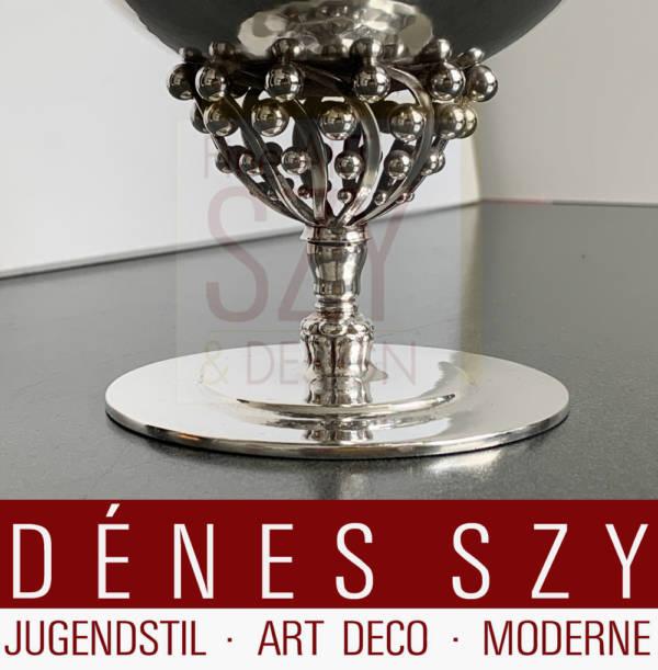 Dänische Jugendstil Deckelschale, Bonbonniere #43, Entwurf: Johan Rohde 1908, Ausführung: Georg Jensen Silberschmiede, Kopenhagen 1925-32, Sterling Silber
