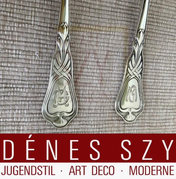 Art Nouveau dessert spoon, Pattern: Autumn crocus, silver cutlery, Design: Heinrich Vogeler approx. 1902, M. H. Wilkens and Sons, Bremen approx. 1902, Germany, 800 silver