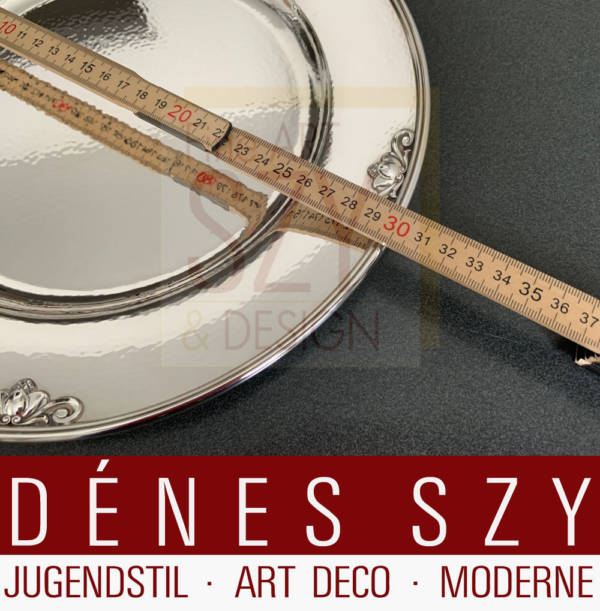 Charger, Post-war size, although also marked with model number 642 A, it is the large size!, Pattern: Konge, Acorn, Design: Johan Rohde approx. 1931, Execution: Georg Jensen silversmith's Copenhagen Denmark 1990 and 1995, Sterling silver