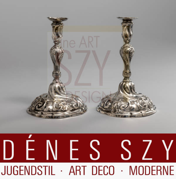 North German Rococo pair of candlesticks around 1770, maker's mark HCB for Hans Conrad Albert Barckhan, Hamburg city mark with letter D for 1760-1784, typical Hamburg decor, larger and heavier than usual