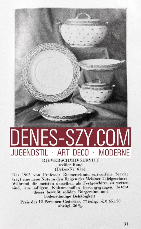 porcellana liberty di Meissen: scodella con manici modello pannocchia blu di Richard Riemerschmid