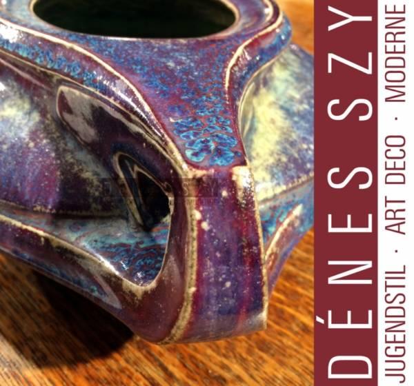 Henra van de Velde Vase, salt-glazed stoneware by Hanke no. 2054