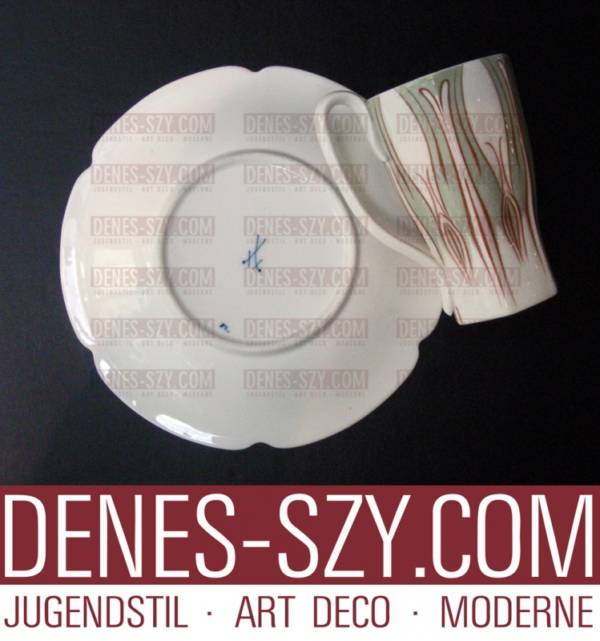 MEISSEN JUGENDSTIL, Kaffeetasse, Krokusmuster Variante ZWEI