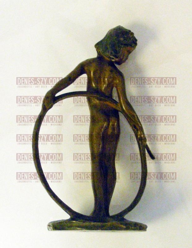 Bernhard Hoetger Bronze, Mädchen mit Reif 1902 Darmstadt